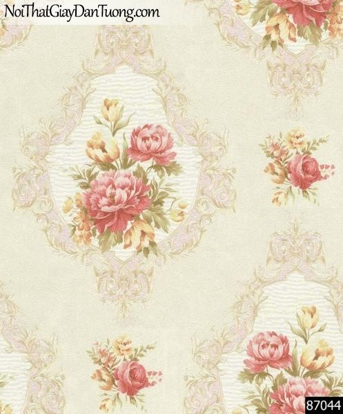 LAKIA, Giấy dán tường LAKIA 87044, Giấy dán tường nền màu vàng cát, cành hoa hồng, sang trọng, tinh tế