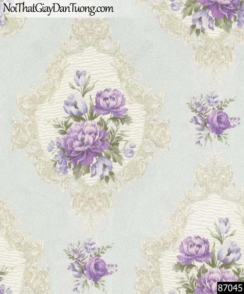 LAKIA, Giấy dán tường LAKIA 87045, Giấy dán tường nền màu xanh, cành hoa tím, đẹp