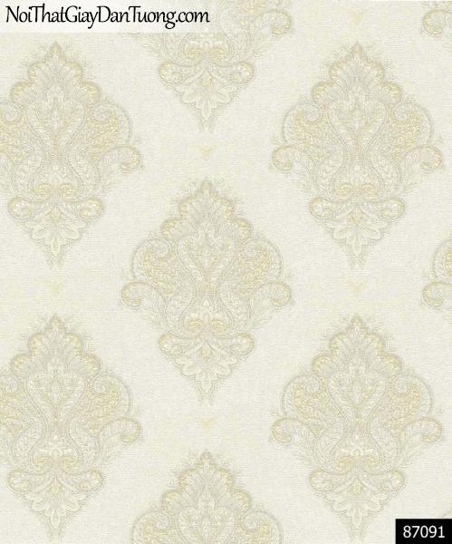LAKIA, Giấy dán tường LAKIA 87091, Giấy dán tường màu trắng xám, hoa văn cổ điển, bán giấy dán tường ở quận 11