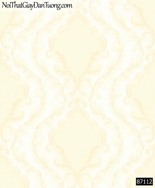 LAKIA, Giấy dán tường LAKIA 87112, Giấy dán tường vàng kem, hoa văn trắng cổ điển
