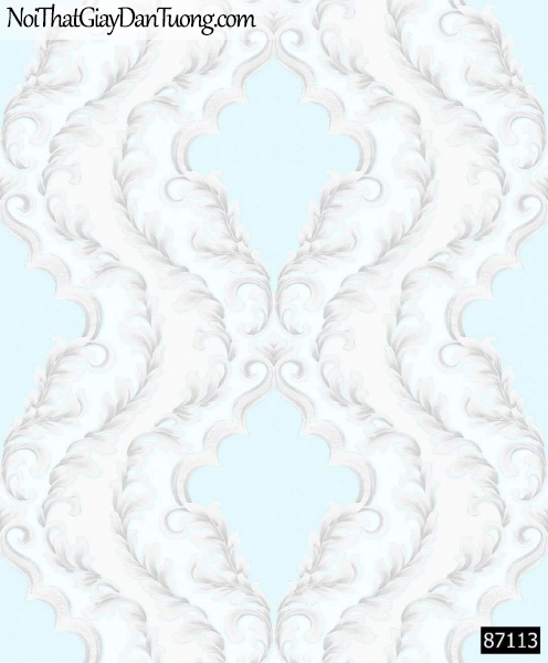 LAKIA, Giấy dán tường LAKIA 87113, Giấy dán tường nền xanh nhạt, hoa văn cổ điển xám khói