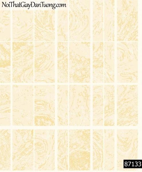 LAKIA, Giấy dán tường LAKIA 87133, Giấy dán tường màu vàng kem, sọc ca rô lớn, đường kẻ trắng