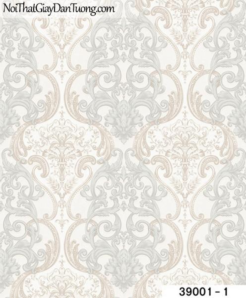 TITAN, Giấy dán tường TITAN 39001-1, Giấy dán tường nền trắng sữa, hoa văn cổ điển, phù hợp với phòng khách, phòng làm việc,...