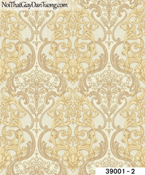 TITAN, Giấy dán tường TITAN 39001-2, Giấy dán tường nền vàng kem, hoa văn cổ điển, sang trọng, tinh tế