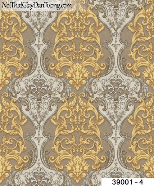 TITAN, Giấy dán tường TITAN 39001-4, Giấy dán tường nền nâu xám, hoa văn vàng, xám, hiện đại, đẹp