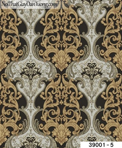TITAN, Giấy dán tường TITAN 39001-5, Giấy dán tường nền nâu đen, hoa văn cổ điển vàng ánh kim, trắng xám