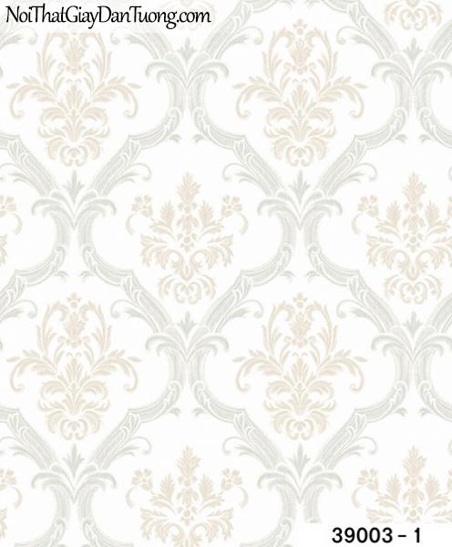 TITAN, Giấy dán tường TITAN 39003-1, Giấy dán tường nền trắng, hoa văn cổ điển, sang trọng, bán giấy dán tường ở quận 8