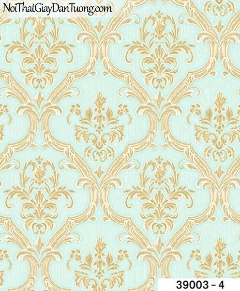TITAN, Giấy dán tường TITAN 39003-4, Giấy dán tường nền xanh, hoa văn cổ điển màu vàng, bán giấy dán tường ở quận 6