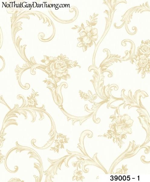 TITAN, Giấy dán tường TITAN 39005-1, Giấy dán tường nền trắng, hoa văn cổ điển màu vàng, bán giấy dán tường ở Bình Dương