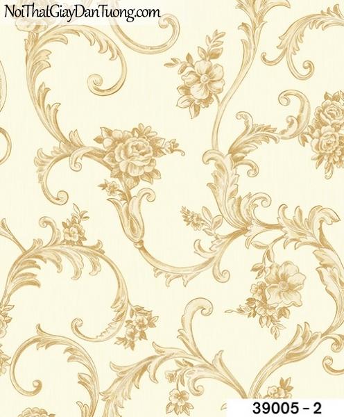 TITAN, Giấy dán tường TITAN 39005-2, Giấy dán tường nền vàng nhạt, hoa văn tinh tế, sang trọng