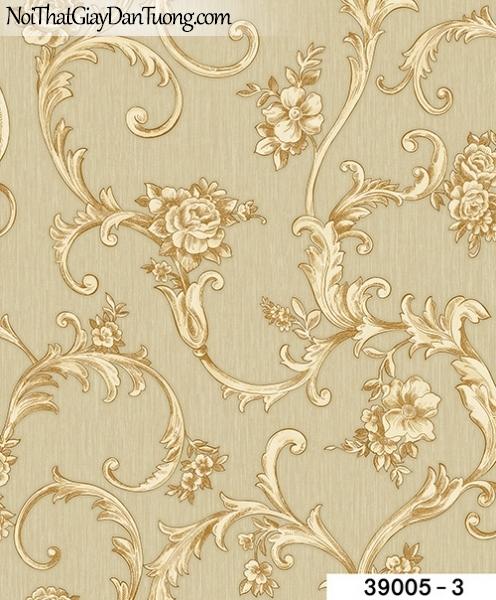 TITAN, Giấy dán tường TITAN 39005-3, Giấy dán tường nền vàng xám, hoa văn cổ điển Châu Âu, sang trọng, đẹp