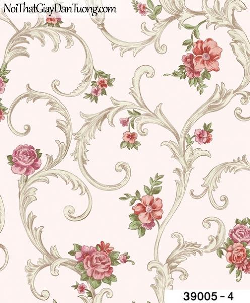 TITAN, Giấy dán tường TITAN 39005-4, Giấy dán tường nền trắng sữa, hoa văn xám, hoa hồng, bán giấy dán tường ở quận 6