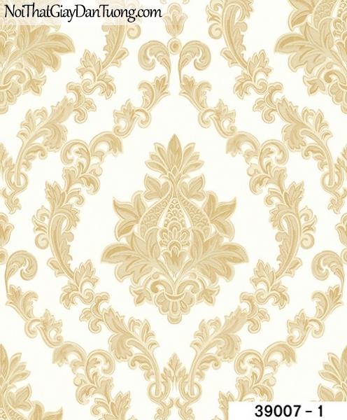 TITAN, Giấy dán tường TITAN 39007-1, Giấy dán tường nền trắng sữa, hoa văn màu vàng sang trọng, hiện đại