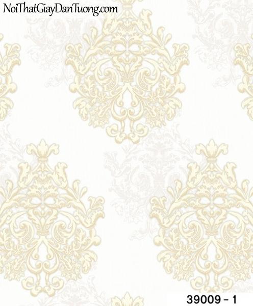 TITAN, Giấy dán tường TITAN 39009-1, Giấy dán tường nền trắng sữa, hoa văn màu vàng sang trọng, hiện đại, tinh tế