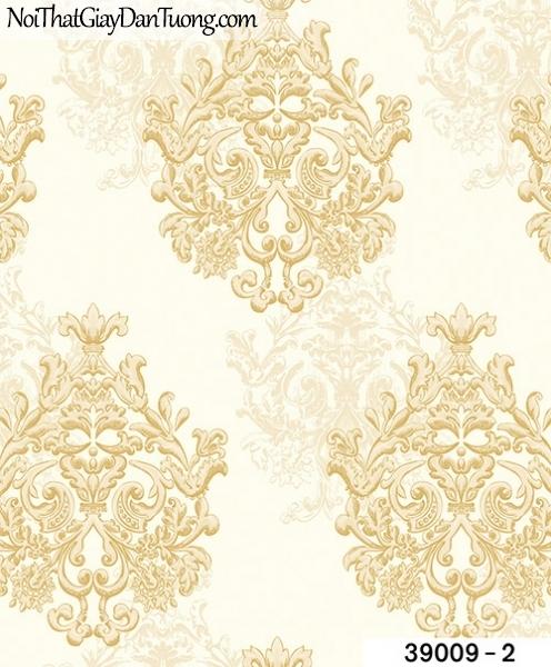 TITAN, Giấy dán tường TITAN 39009-2, Giấy dán tường nền trắng sữa, hoa văn màu vàng sang trọng, hiện đại