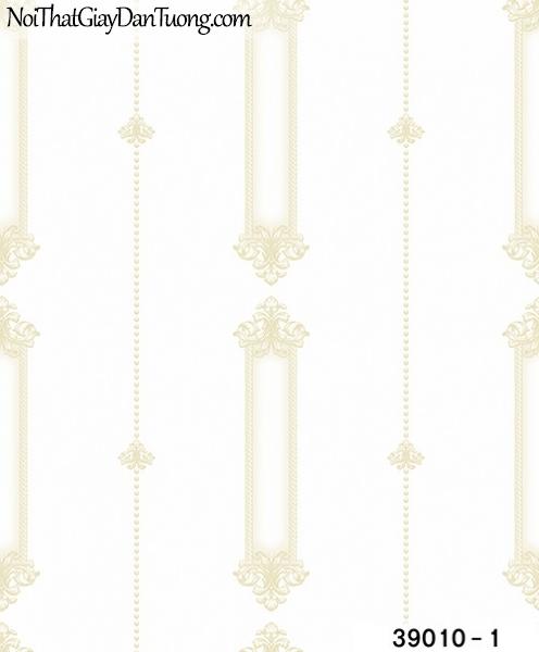 TITAN, Giấy dán tường TITAN 39010-1, Giấy dán tường nền trắng sữa, hoa văn màu vàng sang trọng, hiện đại