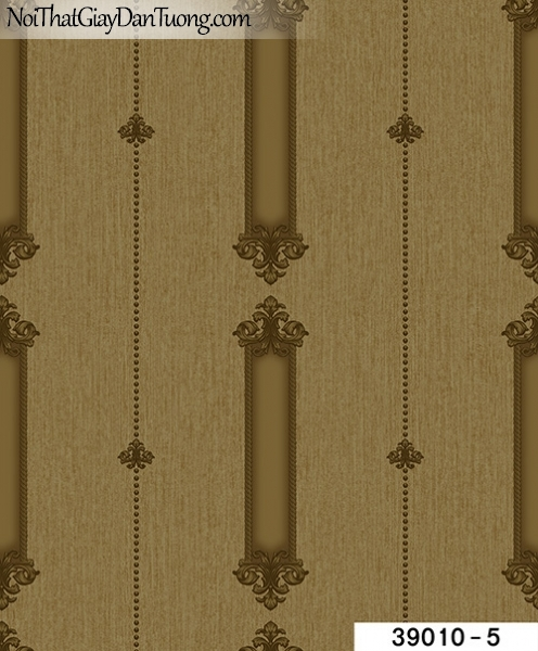 TITAN, Giấy dán tường TITAN 39010-5, Giấy dán tường nền nâu gỗ, hoa văn kẻ đứng, phù hợp với nhà ở, chung cư, nhà hàng, cafe,...