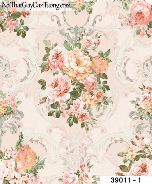 TITAN, Giấy dán tường TITAN 39011-1, Giấy dán tường hoa văn, cành hoa, lá, bán giấy dán tường ở quận 2