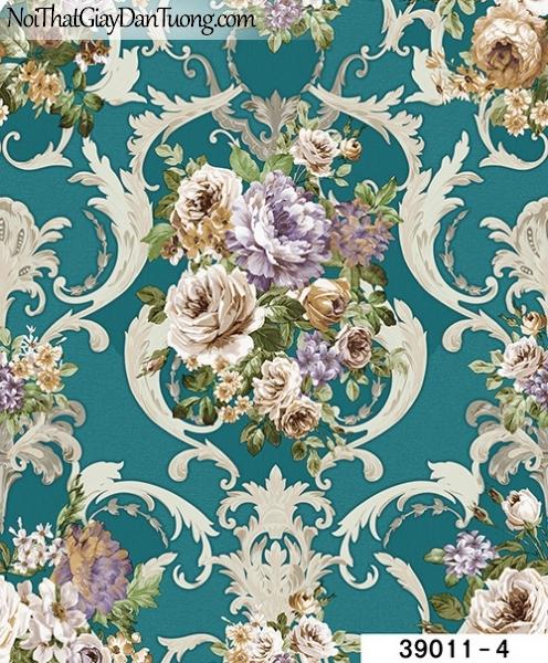 TITAN, Giấy dán tường TITAN 39011-4, Giấy dán tường nền xanh, hoa văn, cành hoa, lá cây, bán giấy dán tường ở quận 6