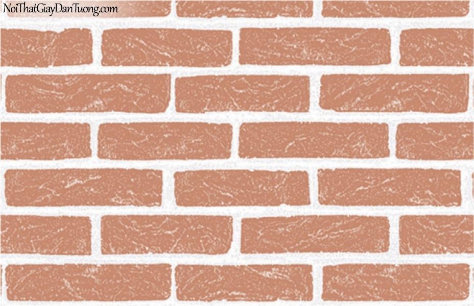 Giấy dán tường giả gạch 3D, giấy dán tường gạch màu đỏ 7911-2 g