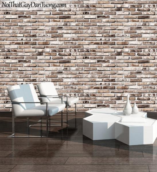 Giấy dán tường giả gạch 3D, giấy dán tường gạch màu nâu, gạch màu nâu9355-2 g pc