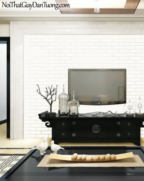 Giấy dán tường giả gạch 3D, giấy dán tường gạch màu trắng, gạch trắng 7911-1 g pc ,phối cảnh