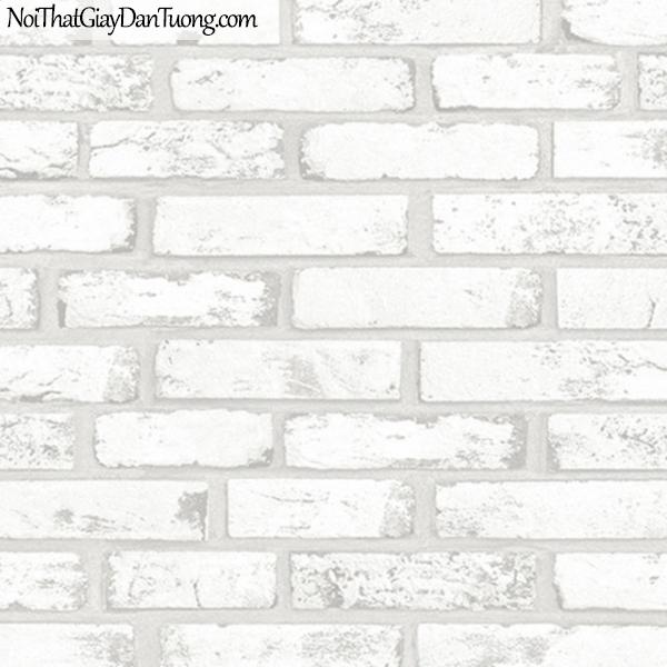 Giấy dán tường giả gạch 3D, giấy dán tường gạch màu trắng, gạch trắng 9363-1 g