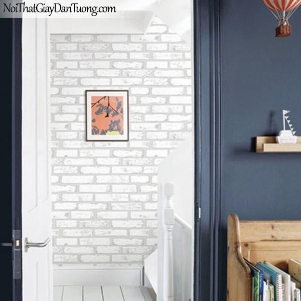 Giấy dán tường giả gạch 3D, giấy dán tường gạch màu trắng, gạch trắng 9363-1 g pc