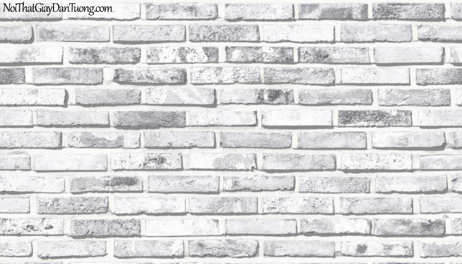 Giấy dán tường giả gạch 3D, giấy dán tường gạch màu trắng xám, gạch trắng xám 9355-1 g