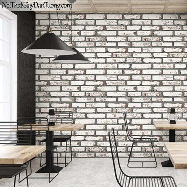 Giấy dán tường giả gạch 3D, giấy dán tường gạch màu trắng xám, gạch trắng xám 9363-2 g pc