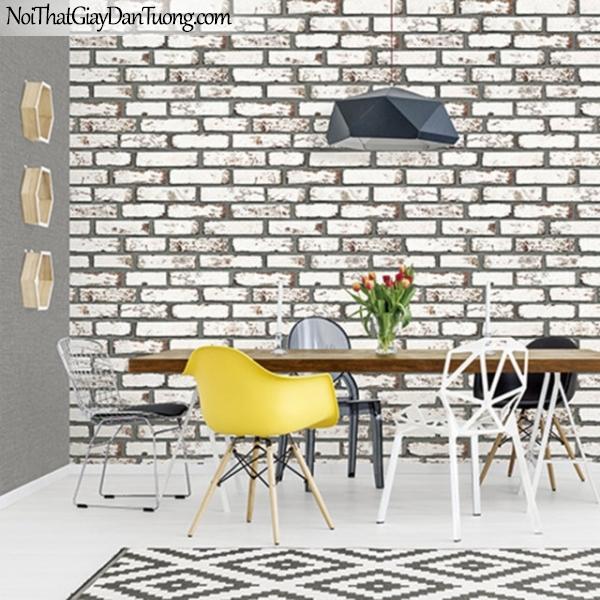 Giấy dán tường giả gạch 3D, giấy dán tường gạch màu trắng xám, gạch trắng xám 9363-2 g pc2