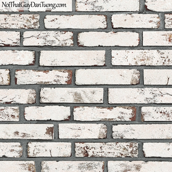 Giấy dán tường giả gạch 3D, giấy dán tường gạch màu trắng xán, gạch trắng xám 9363-2 g