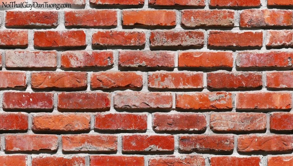 Giấy dán tường giả gạch 3D, giấy dán tường gạch màu đỏ đậm, gạch màu đỏ đậm 53101-3 g