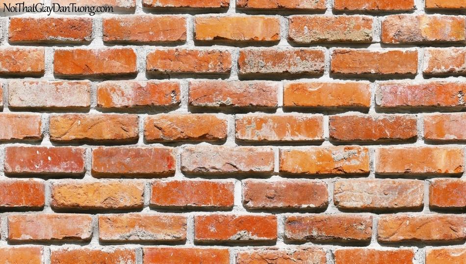 Giấy dán tường giả gạch 3D, giấy dán tường gạch màu đỏ nhạt, gạch 53101-2 g