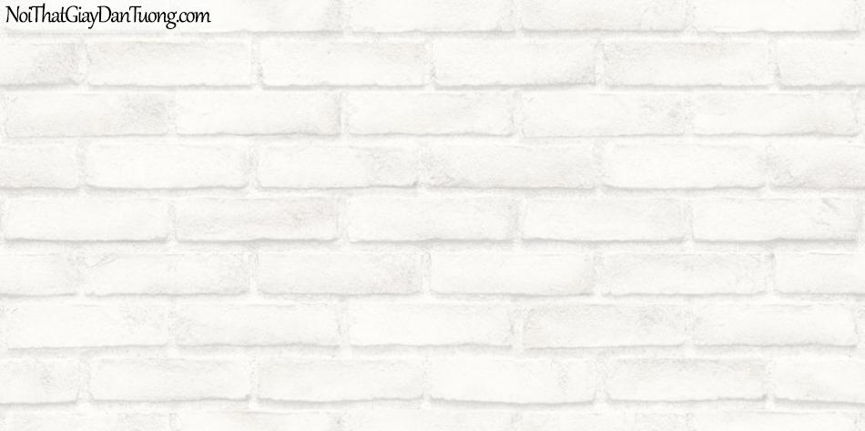 Giấy dán tường giả gạch 3D, giấy dán tường gạch màu trắng, gạch trắng 56094-1 g