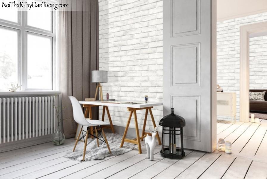 Giấy dán tường giả gạch 3D, giấy dán tường gạch màu trắng, gạch trắng 56094-2 g pc phối cảnh