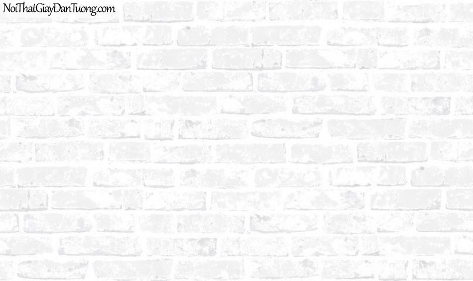 Giấy dán tường giả gạch 3D, giấy dán tường gạch màu trắng, gạch trắng 70137-1 g, giả gạch