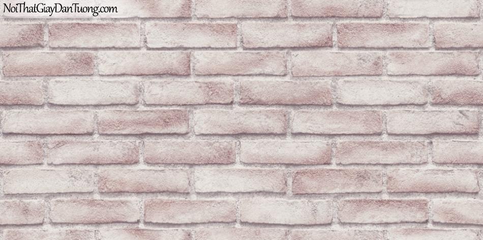 Giấy dán tường giả gạch 3D, giấy dán tường gạch màu trắng hồng, gạch trắng hồng56094-3 g