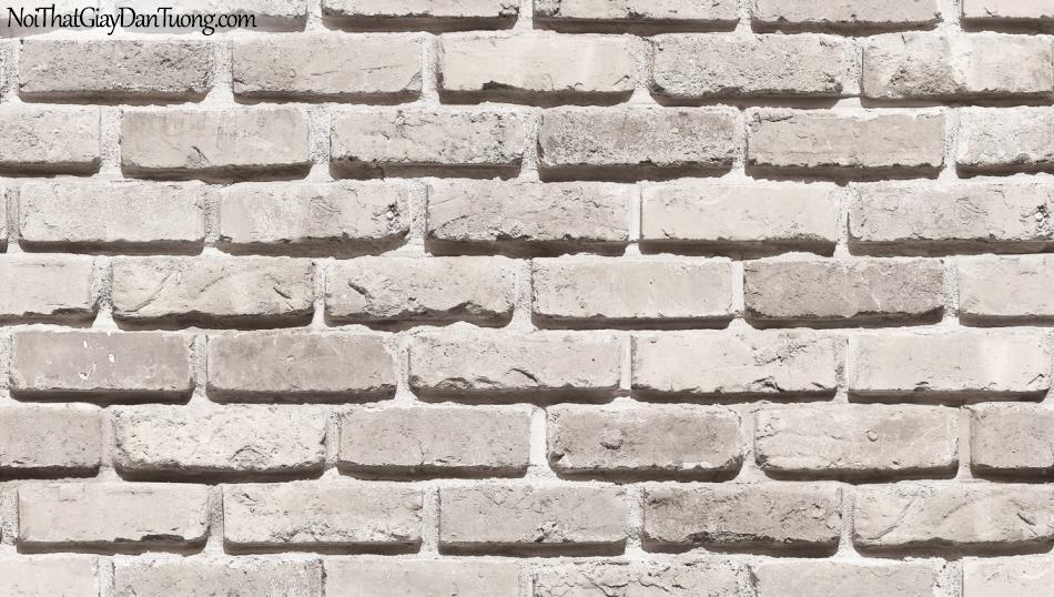 Giấy dán tường giả gạch 3D, giấy dán tường gạch màu trắng xám, gạch trắng xám 53101-1 g