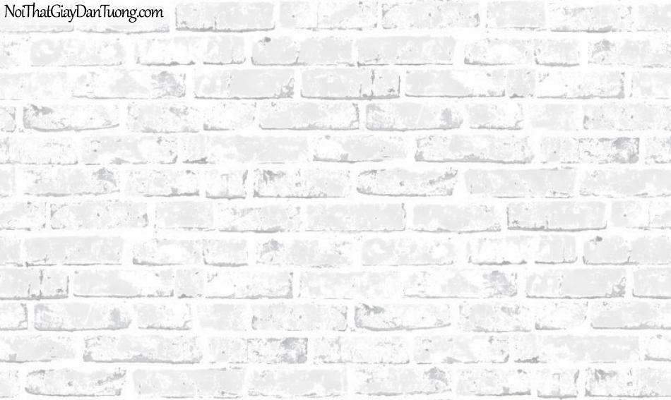 Giấy dán tường giả gạch 3D, giấy dán tường gạch màu trắng xám, gạch trắng xám 70137-2 g