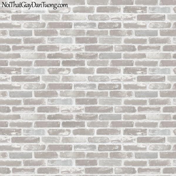 Giấy dán tường giả gạch 3D, giấy dán tường gạch màu trắng xám, gạch trắng xám 82410-1 g