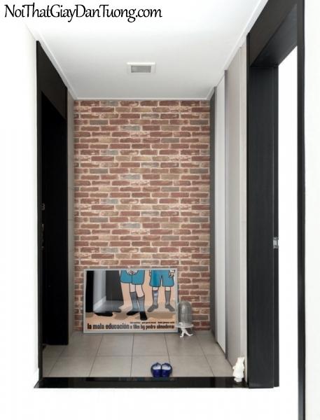 Giấy dán tường giả gạch 3D, giấy dán tường gạch màu đỏ, gạch đỏ 82410-2 g pc
