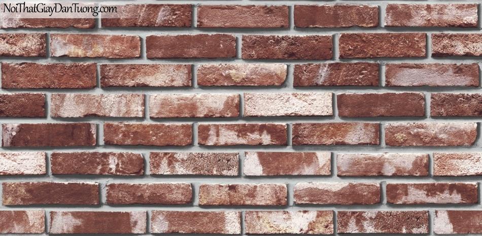Giấy dán tường giả gạch 3D, giấy dán tường gạch màu đỏ xám, gạch đỏ xám 85051-3 g