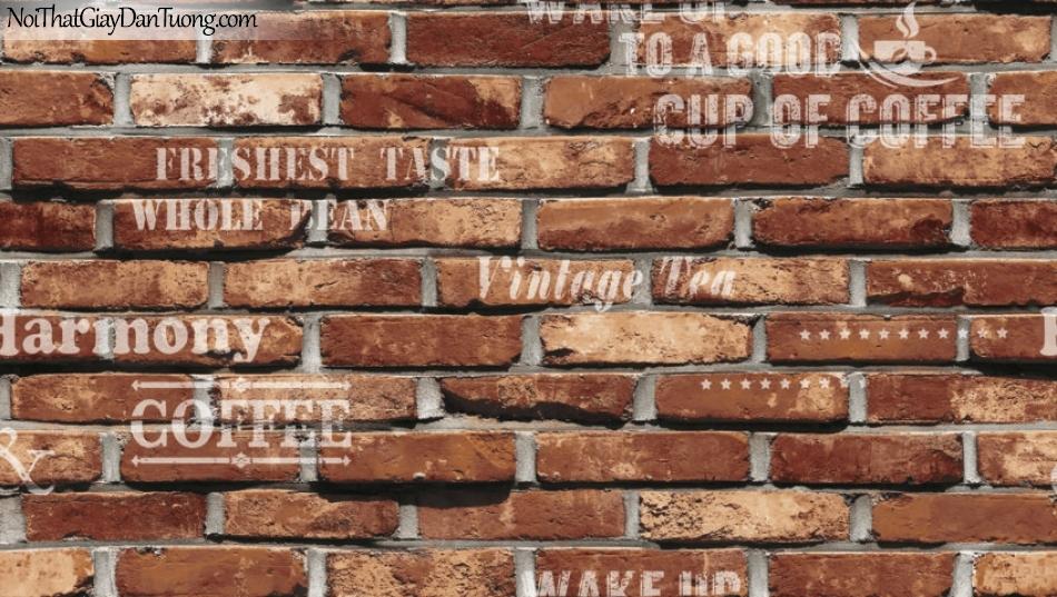 Giấy dán tường giả gạch 3D, giấy dán tường gạch màu nâu, gạch nâu 87032-2 g