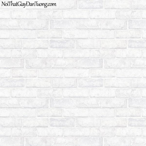 Giấy dán tường giả gạch 3D, giấy dán tường gạch màu trắng, gạch trắng 83100-1 g