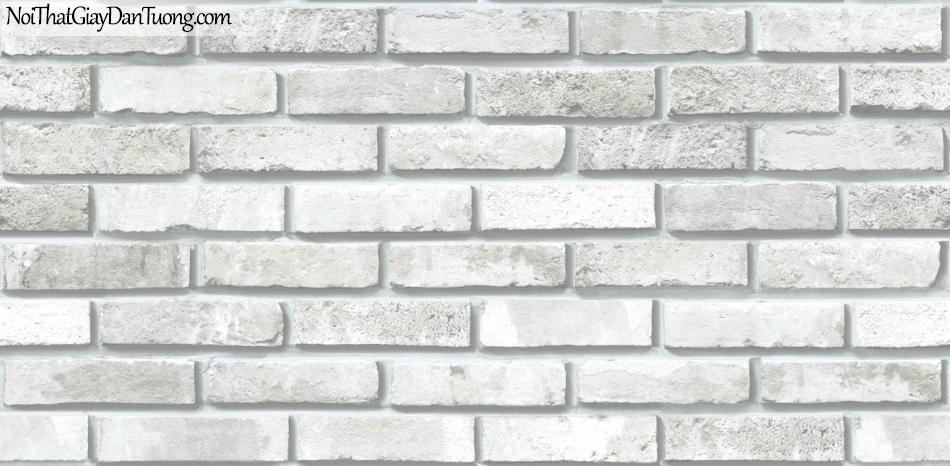 Giấy dán tường giả gạch 3D, giấy dán tường gạch màu trắng, gạch trắng xám 85051-1 g