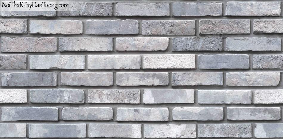 Giấy dán tường giả gạch 3D, giấy dán tường gạch màu xám đậm, gạch xám 85051-2 g