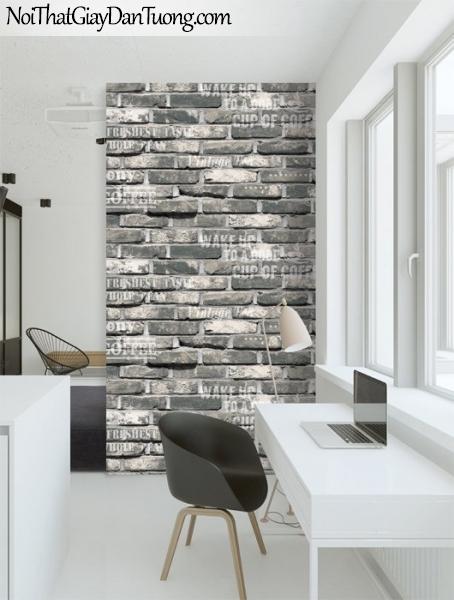 Giấy dán tường giả gạch 3D, giấy dán tường gạch màu xám, gạch xám 87032-1 g pc phối cảnh