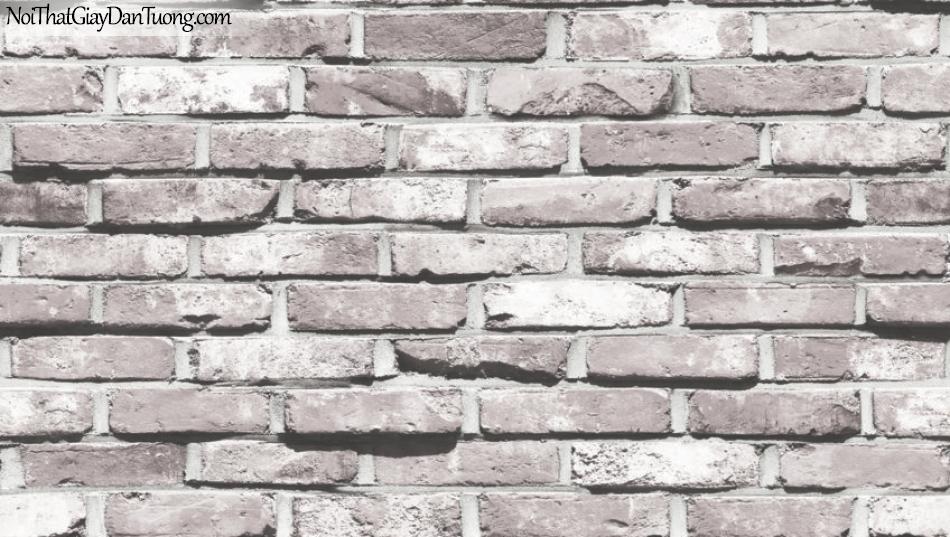 Giấy dán tường giả gạch 3D, giấy dán tường gạch màu trắng 87033-1 g