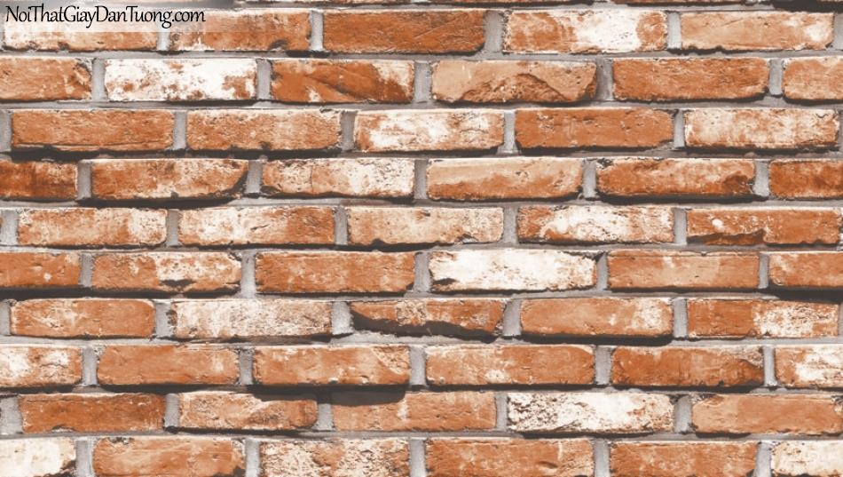 Giấy dán tường giả gạch 3D, giấy dán tường gạch màu trắng đỏ, gạch trắng đỏ 87033-2 g